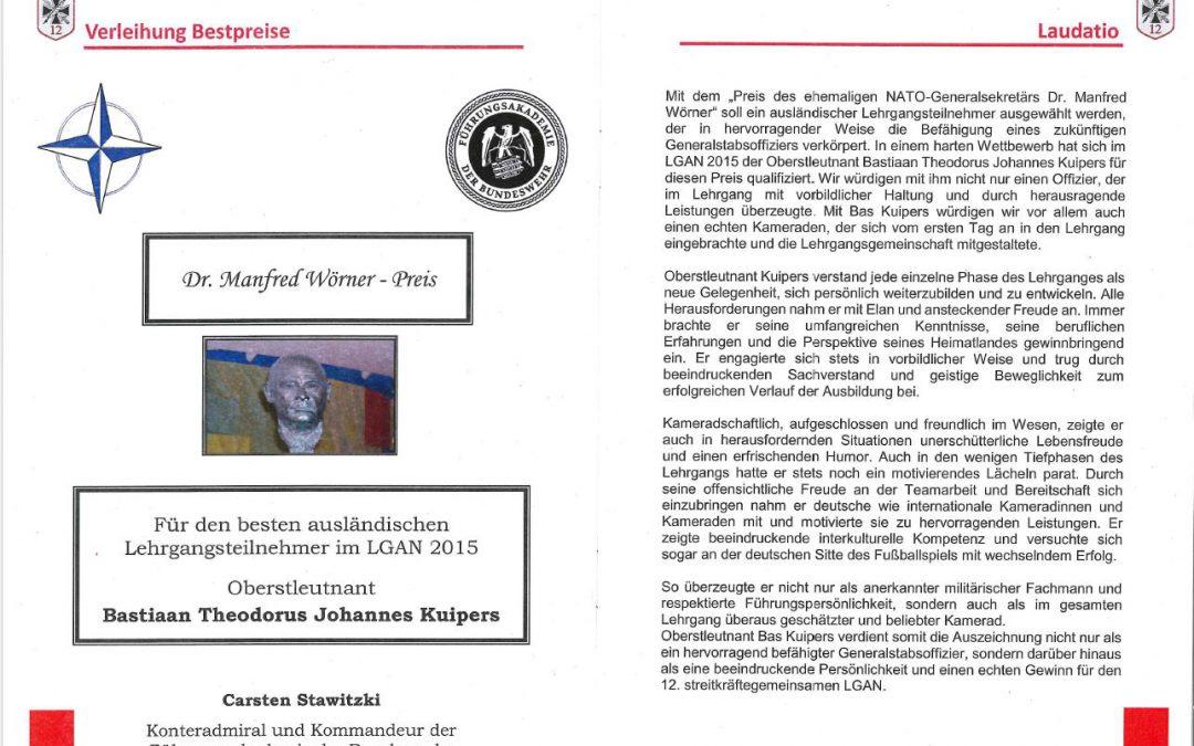 Niederländischer Volontär mit Dr. Manfred Wörner Preis ausgezeichnet