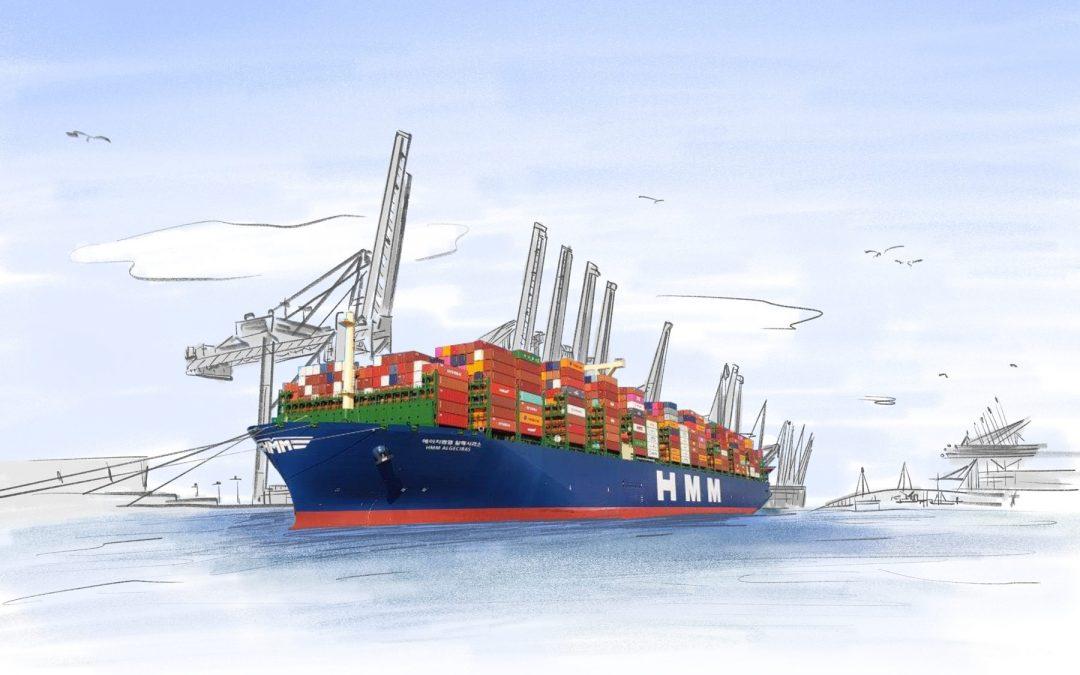 """Neueste NAVIS Segelliste KW 30 – 35 / 2020 ist online.  Titelbild: """"HMM Algeciras"""" – das größte Containerschiff der Welt in Hamburg"""